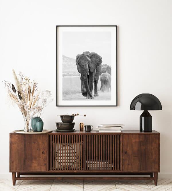 Elefanten mama mit ihren zwei Kindern