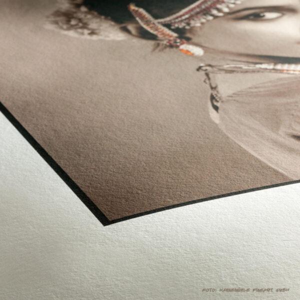 Detailaufnahme des Fine Art Fotopapiers der Firma Hahenmühle