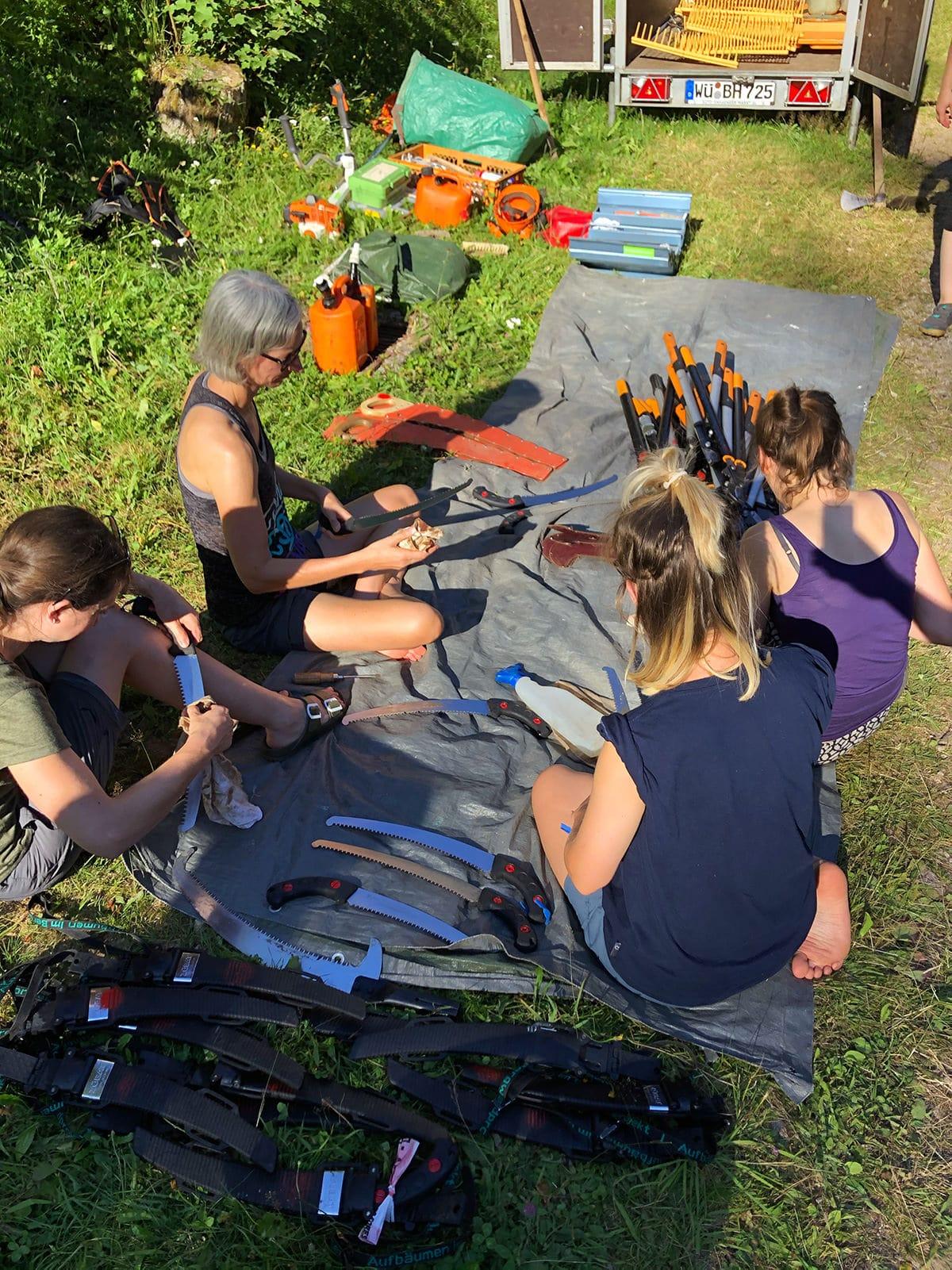 Gruppe bei der Werkzeugpflege im Wald im Sommer